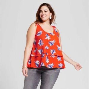 Ava & Viv Tops - Ava&Viv Plus Size Tie Shoulder Top Orange Red 4X